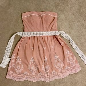 Embroidered Pink Cotton Dress